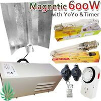 600w Grow Light Wing Reflector Hps Mh Lamp Hanger Timer Lighting Kit Tent Grow