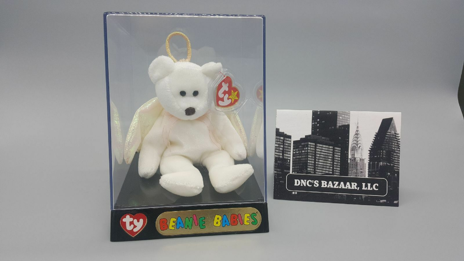 Halo Bear by Ty Beanie Babies W Collector's Ty Case 1998 P.E. Pellets
