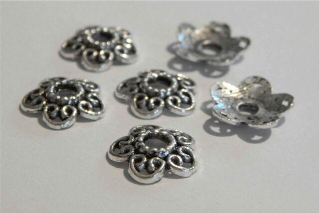 100 große Perlenkappen 12mm Blume Herz silber antik Metall filigran