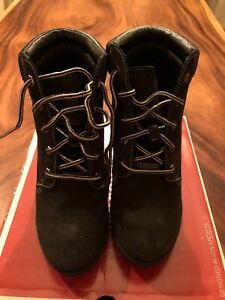 6e2d96c0039 Image is loading SKECHERS-BLACK-LEATHER-WEDGE-BOOTS-SIZE-8-WORN-