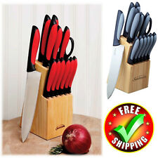 Sharper Image Chef Wood Knife Block 15 Piece Set Stainless Black