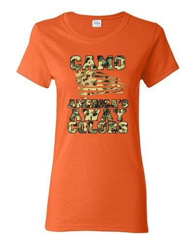 Ladies Camo America/'s Away Colors USA Patriotic Nation Country DT T-Shirt Tee