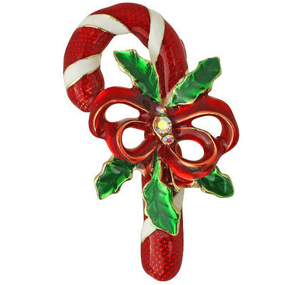 NEW KIRKS FOLLY CHRISTMAS CANDY CANE PIN GOLDTONE