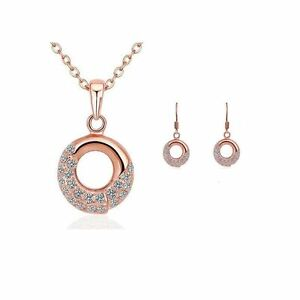 Women-039-s-Rose-Gold-Necklace-amp-Earings-Matching-Jewellery-Set-With-Crystal-Stones