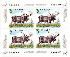 20-RARE-COLLECTOR-039-S-UM-2004-CANADA-5-MAJESTIC-MOOSE-OF-4-MINT-STAMPS-BLOCK