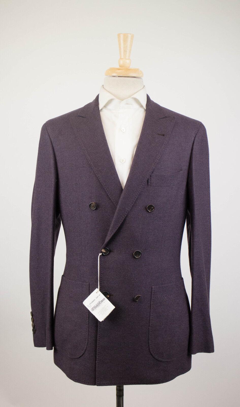 New BRUNELLO CUCINELLI Purple Cashmere Blend DB Sport Coat Size 48 38 R