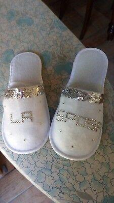 1 Paio Ciabatte Pantofole Sposa Strass Nozze Matrimonio-handmade-tg Unica-regalo
