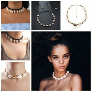 BOHO-Beach-Bohemian-Sea-Shell-Pendant-Chain-Choker-Necklace-Fashion-Jewelry