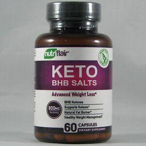 Nutriflair Keto BHB Salts 800mg Advanced Weight Loss Supplement 60 Capsules