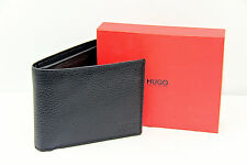HUGO BOSS RED LABEL 100% LEATHER WALLET 4 CC 2 PAPER MONEY SLOT COINS GIFT BOX