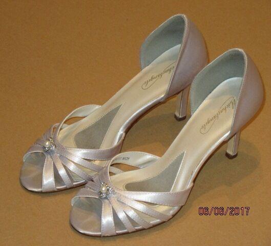 Michaelangelo Gray Strappy DRESSY FORMAL Silver Gray Michaelangelo Wedding Satin 3.5 High Heels 9M 5c6134