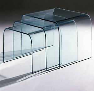 Dettagli su Set 3 tavolini Portland in vetro curvato - made in Italy,  salotto, soggiorno