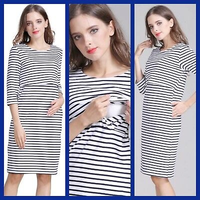 BNWT STRIPE MATERNITY BREASTFEEDING NURSING DRESS SIZE M L XL 10 12 14 16