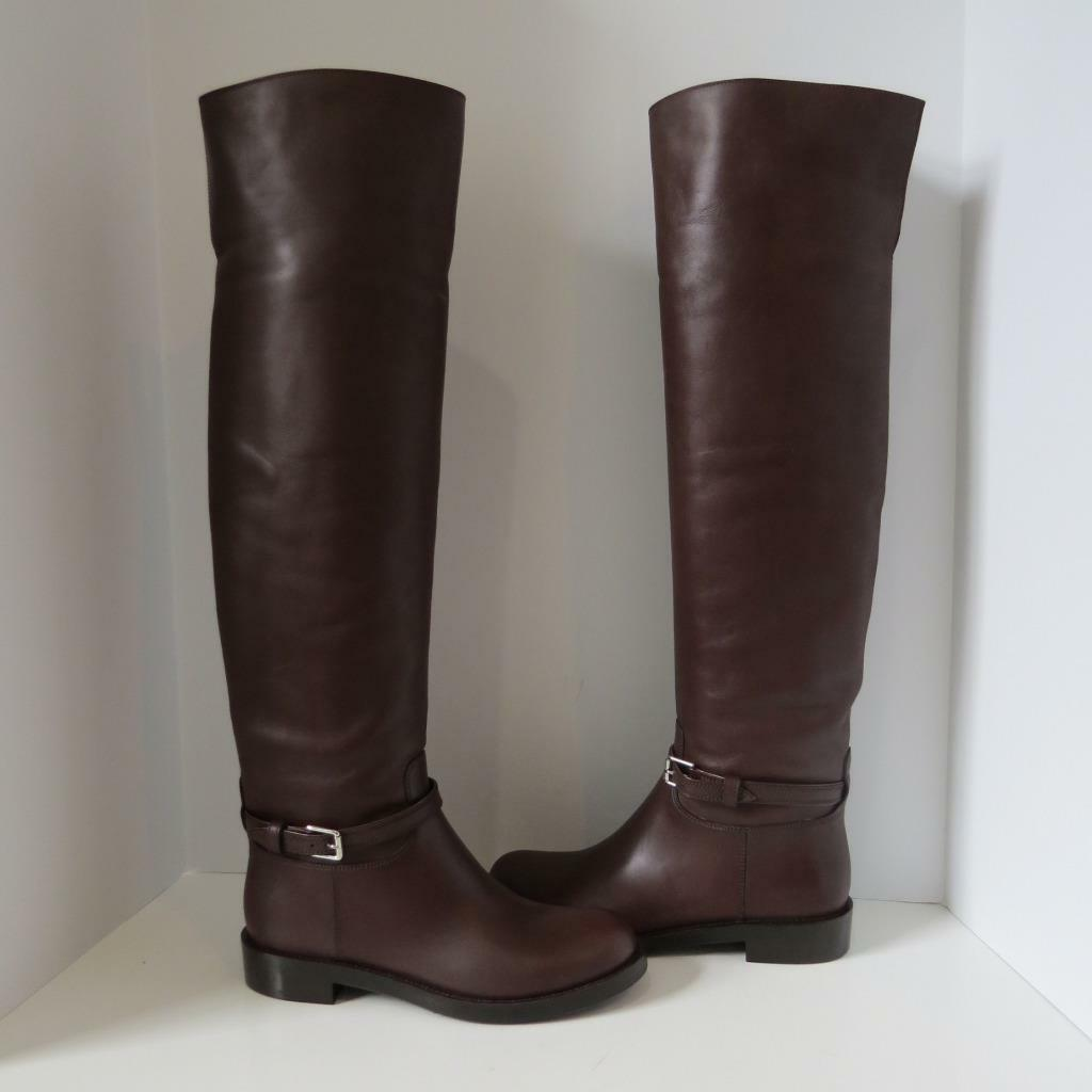 NWOB Gianvito Rossi Brown Leather Riding Boots shoes Size 39