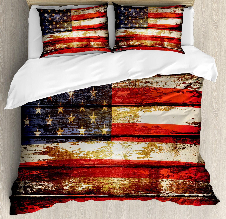 American Flag Duvet Cover Set with Pillow Shams Vintage Wooden Print