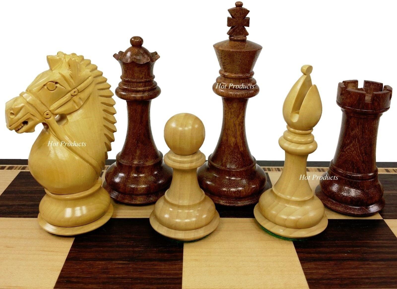 4 QUEENS - 4  King Staunton BRIDLED Knight SHEESHAM WOOD Chess Men Set -NO BOARD