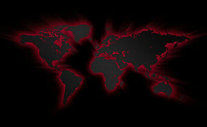 A3 poster black world map with red neon picture globe atlas image is loading a3 poster black world map with red neon gumiabroncs Choice Image