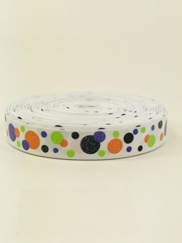 "5 Yards 7//8/"" Printed Polka Dots Glitter Halloween Grosgrain Ribbon Lisa Sale"