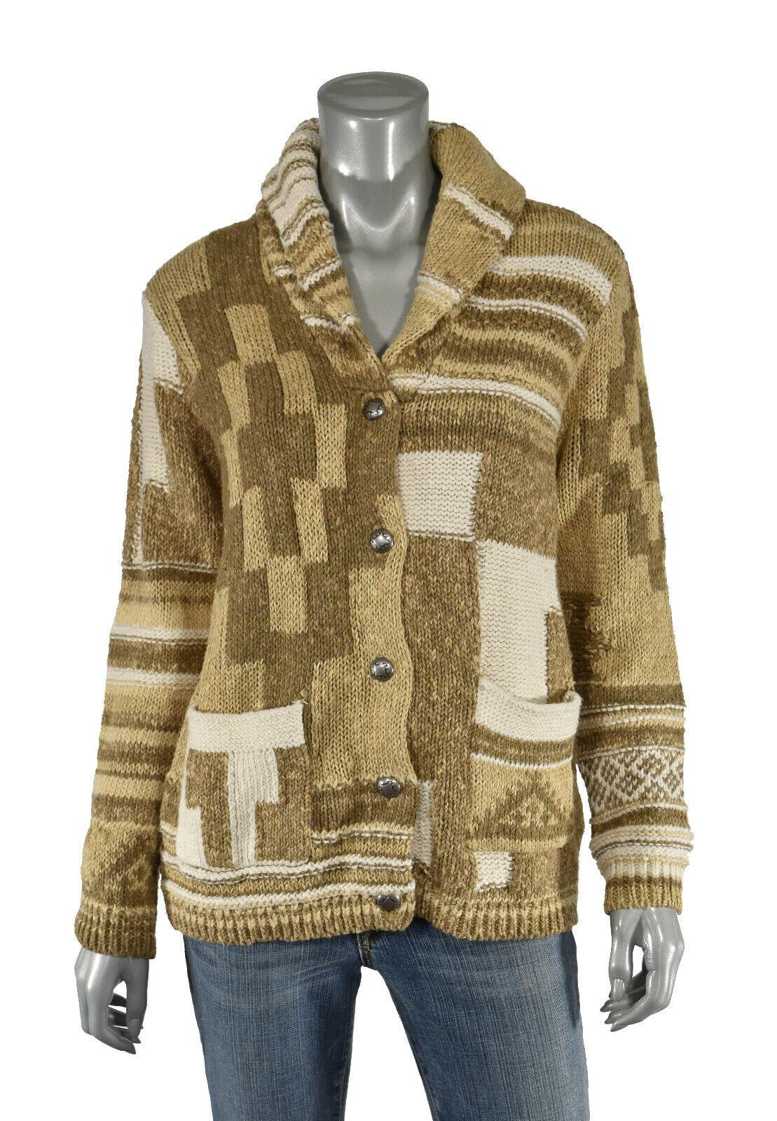 Para Mujer  Ralph Lauren Polo Algodón Lino Patchwork Cochedigan Sweater Nuevo  cómodamente