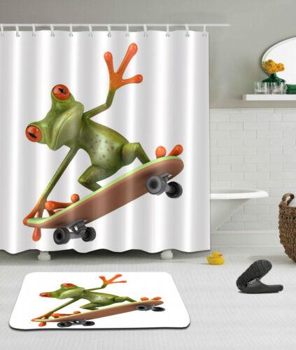"72X72/""//72X79/""Bathroom Fabric Shower Curtain /& Mat Rug /&12Hooks--Frog Skating2398"