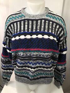 1990s-Vintage-Radierungen-COOGI-Bill-Cosby-Style-Heavy-Knit-Herren-lg-Pulli
