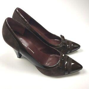 MARC BY MARC JACOBS Suede Patent Leder Pump Bow Pointed Toe Pump Leder Heels ... a9b47e