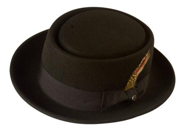 NERO Cappello pork pie 100% feltro di lana 3ded0715e60d