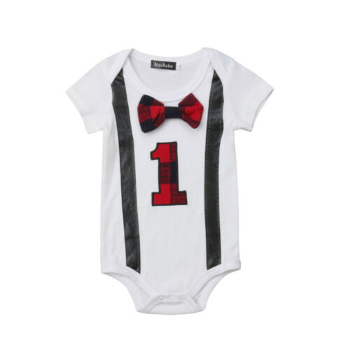 Baby Boy My First 1st Birthday Party Gentleman Bow Romper Jumpsuit Outfits
