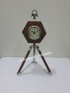 NAUTICAL BEAUTIFUL WOODEN MARITIME DESK /TABLE CLOCK HOME DECOR