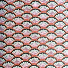 Michael Miller Fan Dance fabric in Coral - Art Deco - Pink