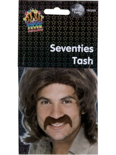 NEW Seventies Tash Fake Moustache Men/'s Fancy Dress Costume Accessories