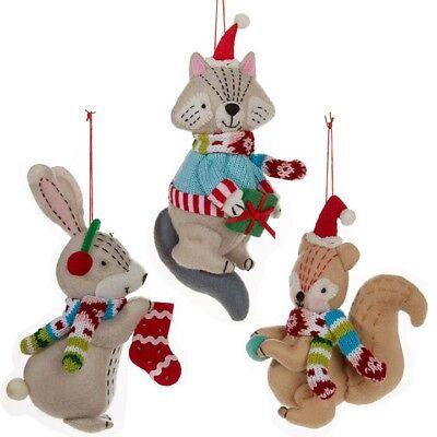 3852954 RAZ Set//2 Bunny Discs Glass Christmas Tree Ornament Holiday