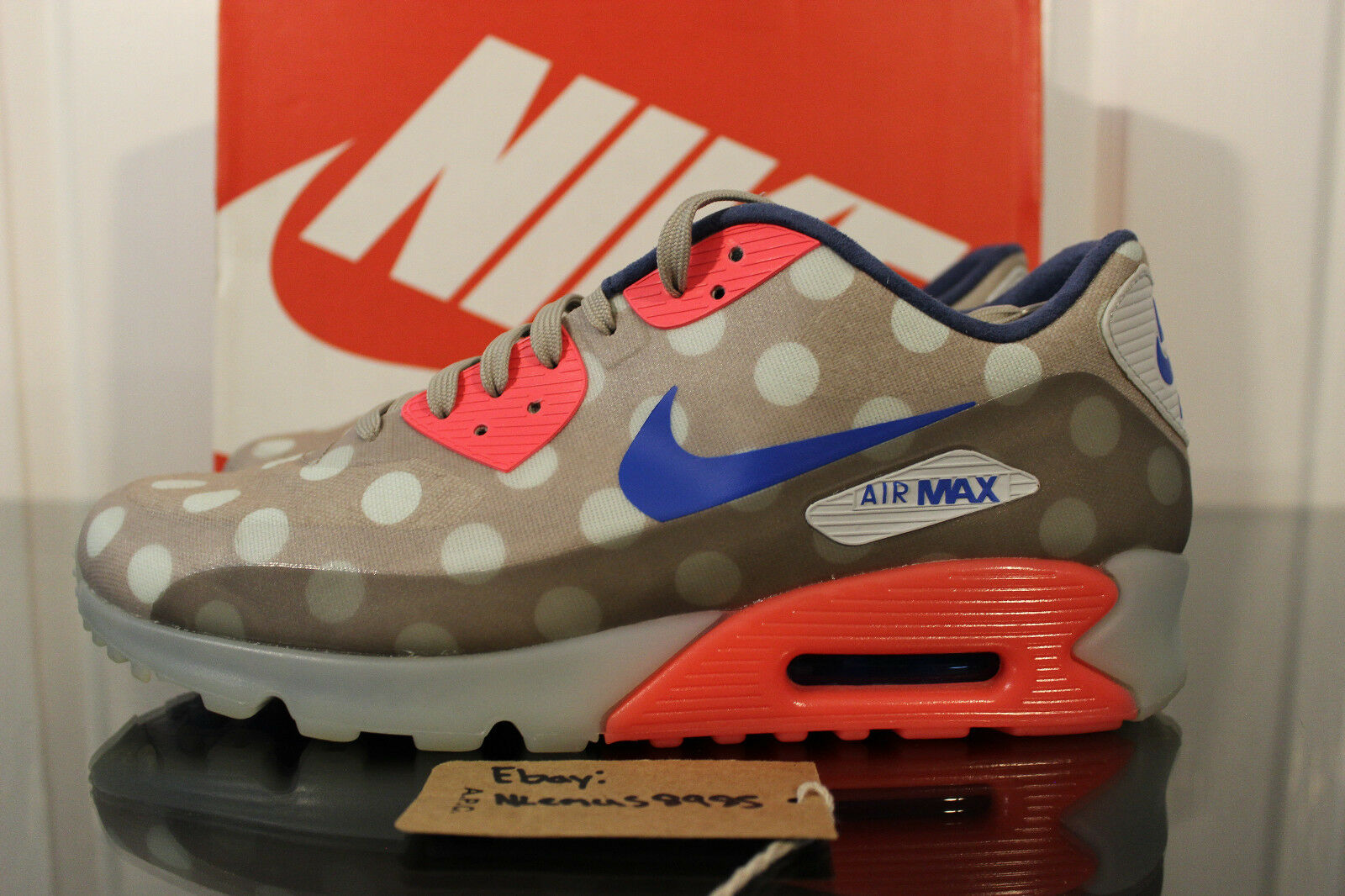Rare Nike Air Max 90 Ice NYC Dots Punch Blue Rare Size 10.5 667635-001 OFF WHITE