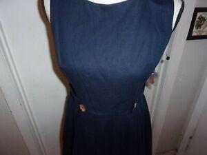 ModCloth-algo-de-los-anos-sesenta-a-line-Vestido-Talla-10-Azul-Marino-Flor-Boton-Pliegue