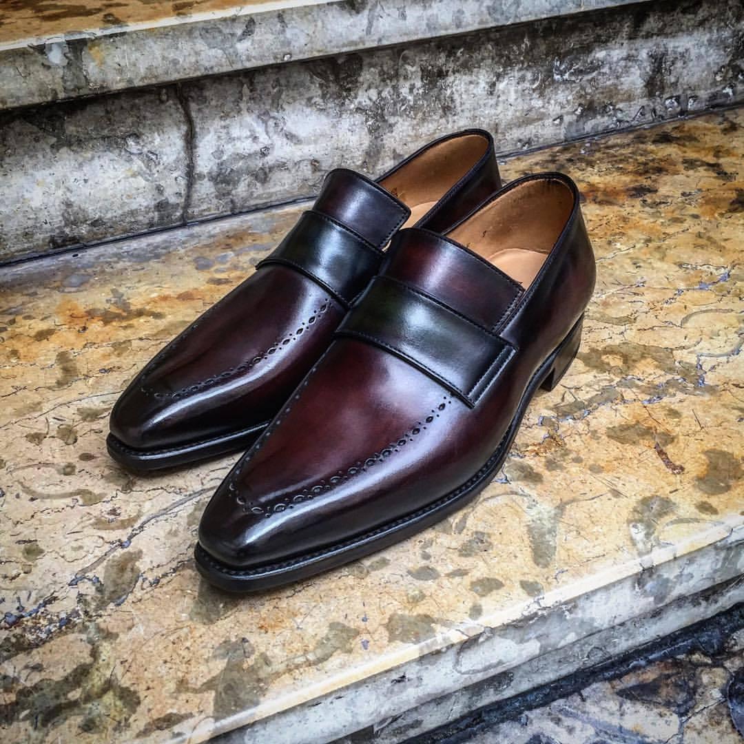 Leather Marronee Patina Classic Loaffers  per uomini personalizzati  una marca di lusso