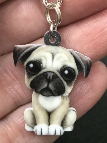 "Dog Pug Big Eyes Enamel Double-sided Tibetan Silver 18/"" Necklace D-1531"