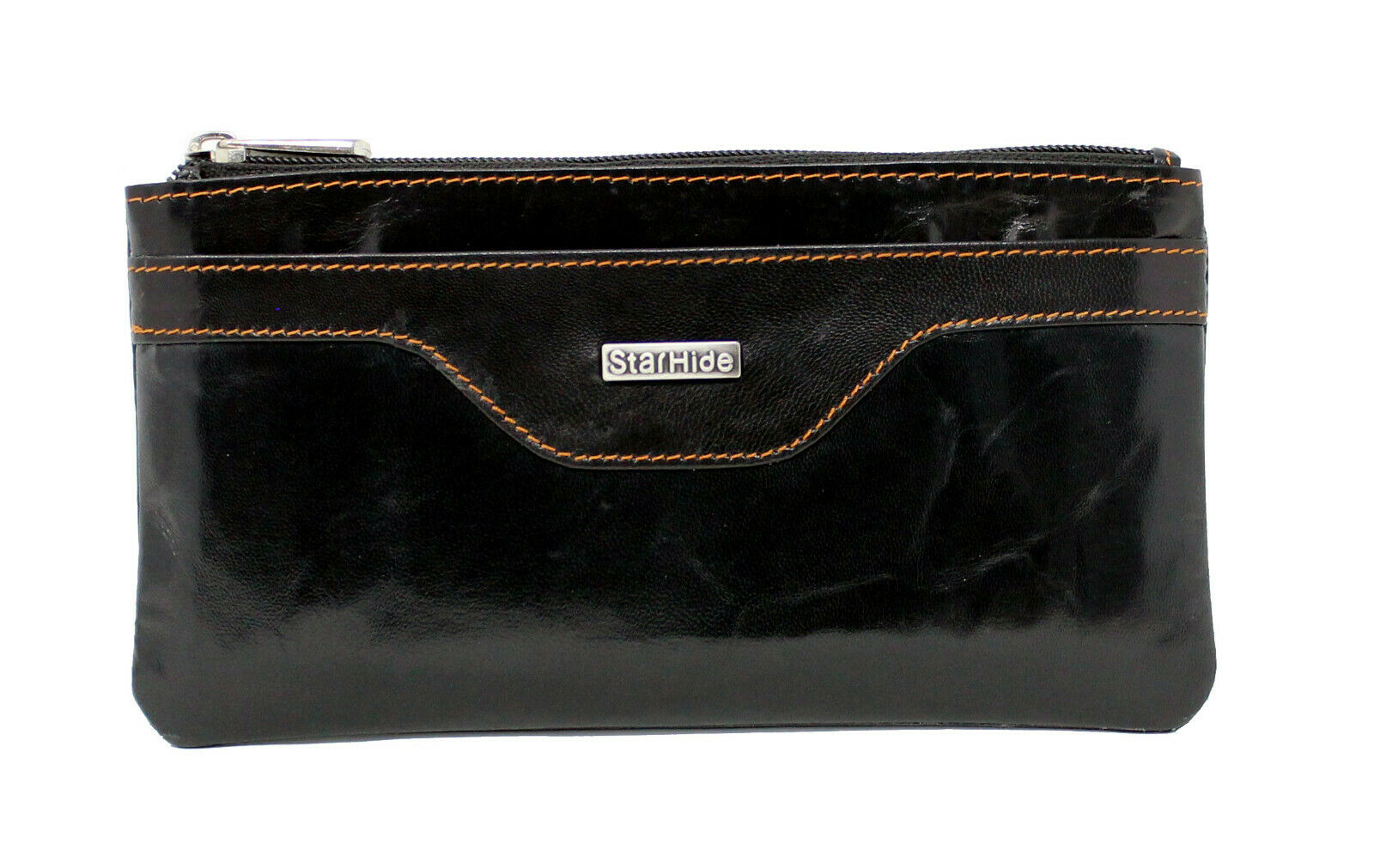 Ladies RFID Blocking Leather Pouch Purse Black