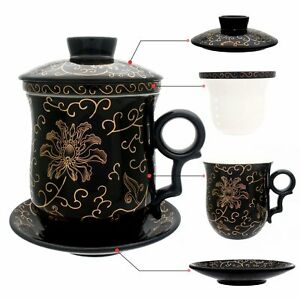 NEW-Chinese-Flower-Ceramic-Porcelain-Tea-Cup-with-Infuser-amp-lid-amp-saucer-coffee-mug