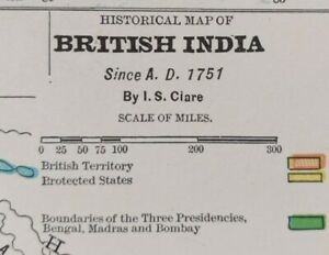 Vintage-1900-BRITISH-INDIA-A-D-1751-Map-11-034-x14-034-Old-Antique-Original-HYDERABAD