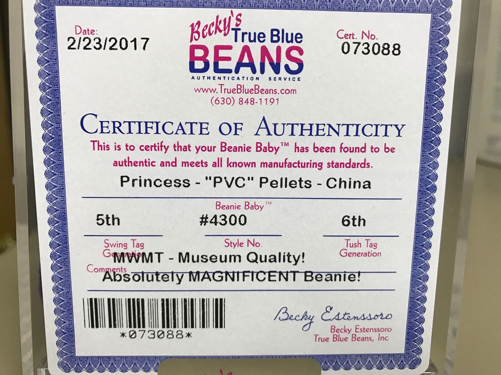 RARE Authenticated,Princess Authenticated,Princess Authenticated,Princess Diana Beanie Baby PVC Pellets,Museum Quality d393fc