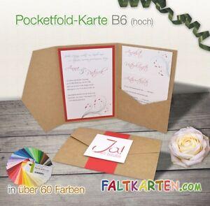 Das Bild Wird Geladen Pocketfold Karte B6 Einladung Hochzeit  Grosse Farbwahl Blanko