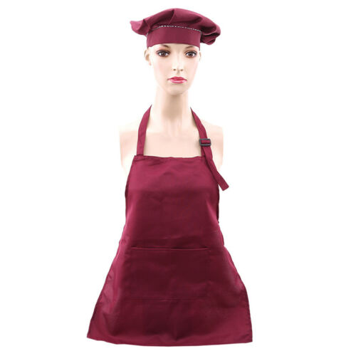 Kids Kitchen Chef Cooking Accessories Apron Set Hat Oversleeve Pocket US Stock