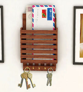 Wooden key holder cum newspaper holder handicraft key for Mural key holder