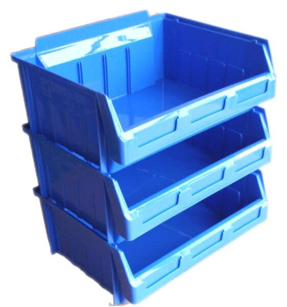 3 Stacking Plastic Storage Bins Size 5 Large 290mml X 363mmw X 145mmh