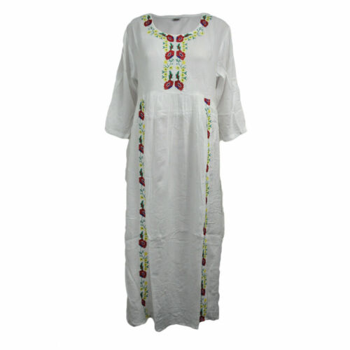 Women Ladies Maxi Dress Embroidery Floral Abaya Long Sleeve Kaftan Jilbab 19-488