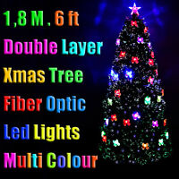 1.8m Xmas Christmas Green Tree Double Layer Fibre Optic Led Lights Multi Colour