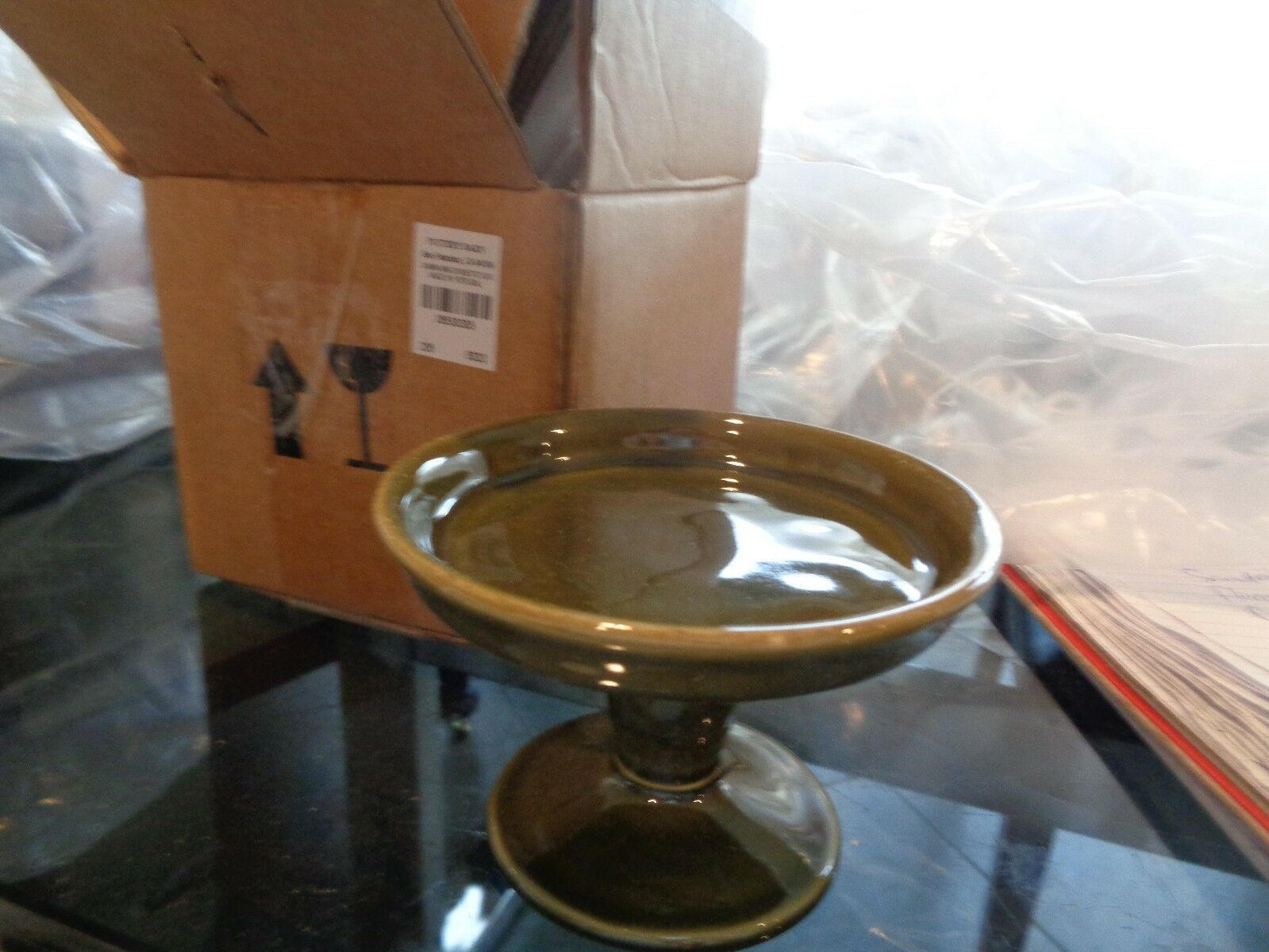 Pottery Barn Cambria Mini Serve Footed Cupcake stand olive set 5 New
