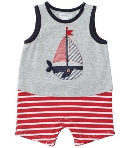 Boys MUD PIE sailboat tank romper 0-3-6 NWT cotton knit nautical outfit July 4th