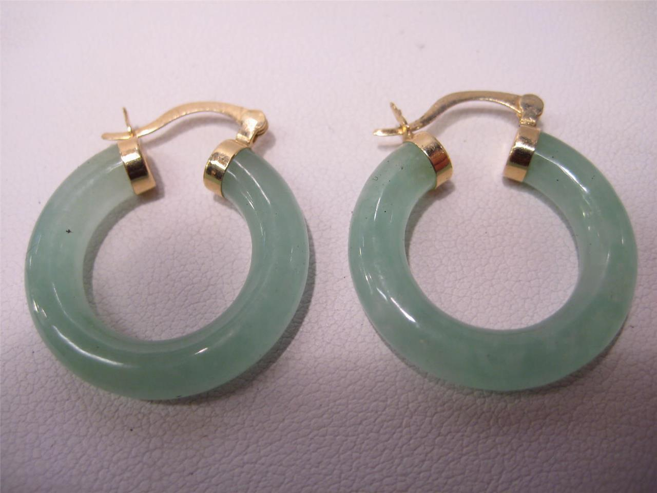 14KT Jadeite jade Hoop earrings top color SALE...  100.00 OFF