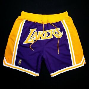 6d63f257133 100% Authentic Just Don Mitchell Ness Lakers Short Size XL 48 Mens ...